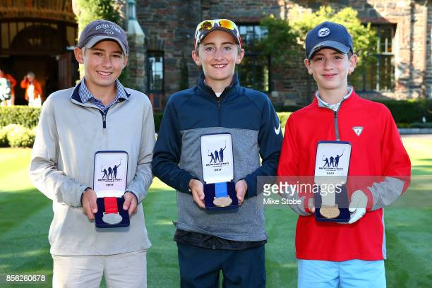 Boys 1213 John Pagano Lance Hollingshead and Henry Devaney pose during the Drive Chip and Putt Championship at Winged Foot Golf Club on October 1...