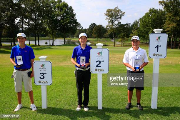 Boys 1415 Putt winners Eric Klutke Christian Hein and Clint Bailes pose during the Drive Chip and Putt Championship at The Honors Course on September...
