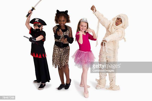 Boys and girls posing in costume