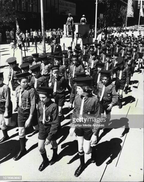 Boys Brigade -- Members of the Boys Brigade passing through Martin Plaza.The Boys' Brigade had their annual Founders Day Parade through the streets...