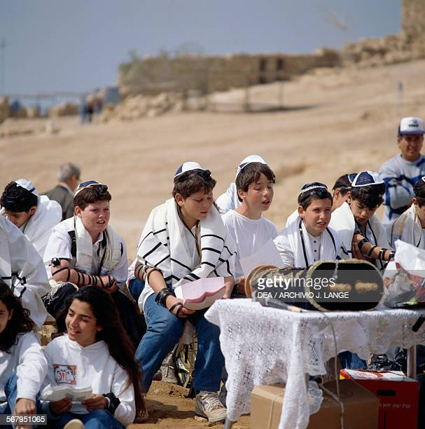 Boys celebrating a collective Bar Mitzvah at Masada Israel