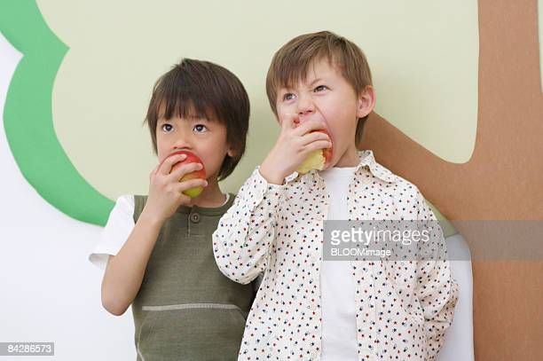 Boys eating apples in front of tree made with paper