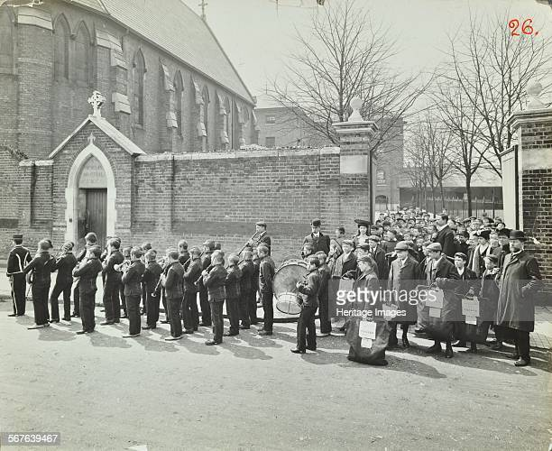 Boys emigrating to Canada setting off from Saint Nicholas Industrial School Manor House Manor Park East Ham Essex 1908 Boys with the Catholic...