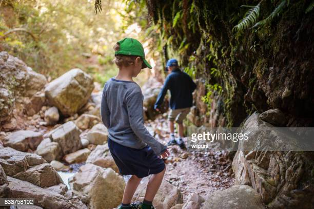 boys exploring in canyon - canyon foto e immagini stock