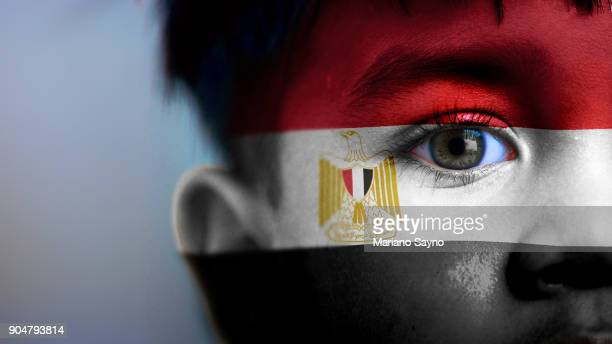 Boy's face, looking at camera, cropped view with digitally placed Egypt flag on his face.