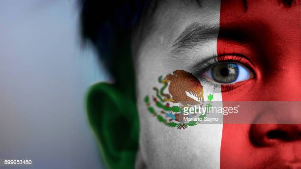 boy's face, looking at camera, cropped view with digitally placed mexican flag on his face. - bandera mexicana fotografías e imágenes de stock