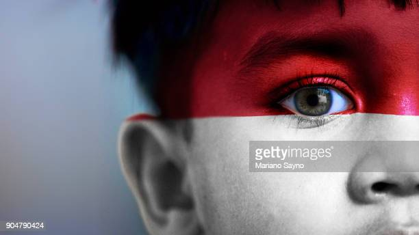 Boy's face, looking at camera, cropped view with digitally placed Indonesia flag on his face.