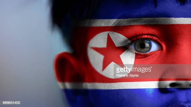 Boy's face, looking at camera, cropped view with digitally placed North Korea flag on his face.