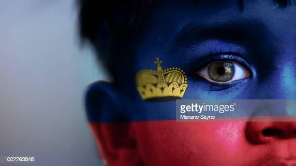 boy's face with digitally placed liechtenstein flag on his face. - liechtenstein stockfoto's en -beelden