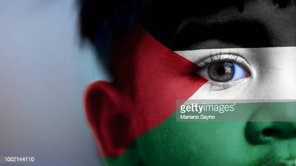 boy's face with digitally placed palestine flag on his face. - palestinian territories stock pictures, royalty-free photos & images