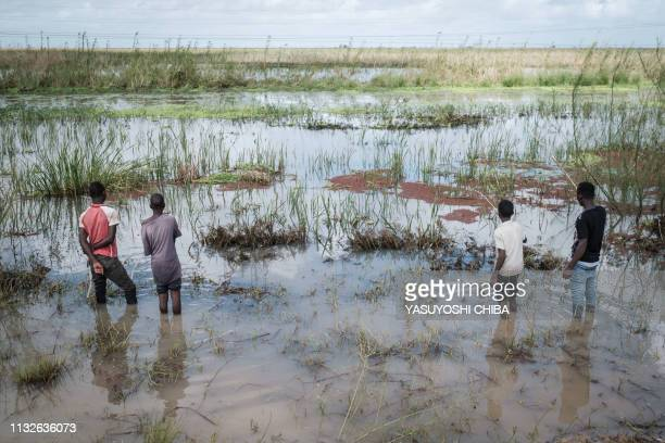 TOPSHOT Boys fish in a flooded area after the passage of the cyclone Idai near Tica Mozambique on March 24 2019 Cyclone Idai smashed into...