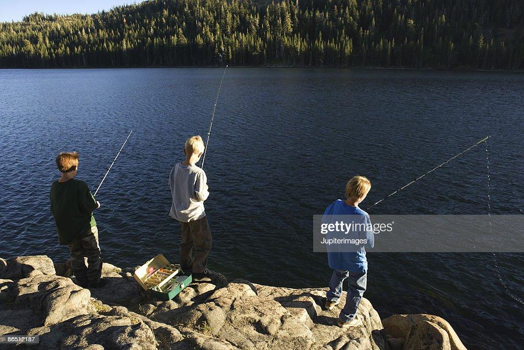 Boys fishing : Stock Photo