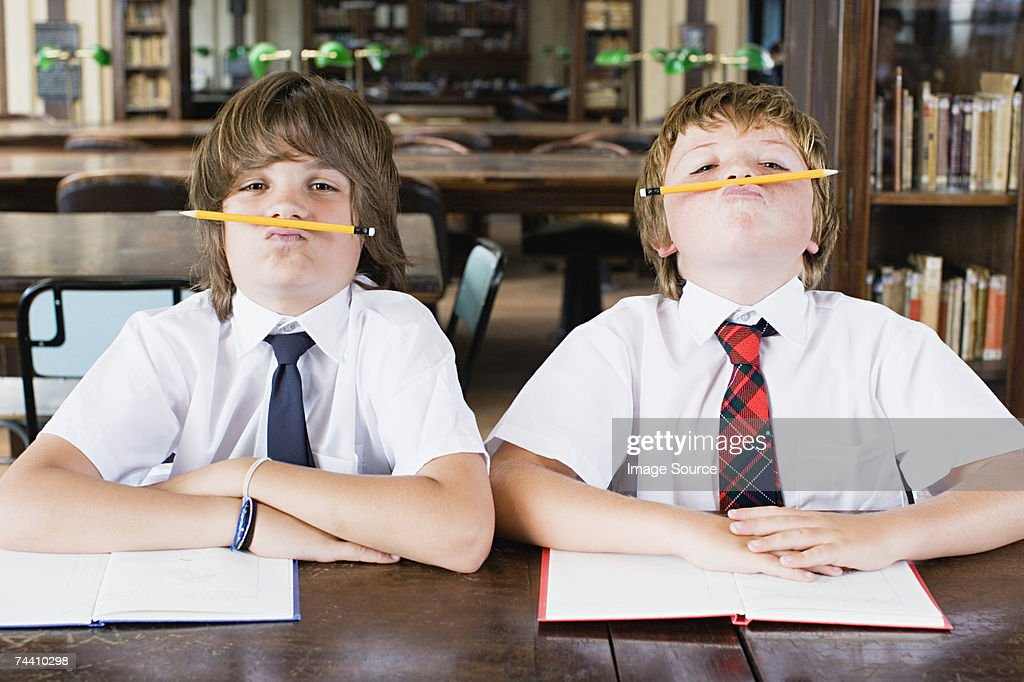 Boys fooling around : Stock Photo