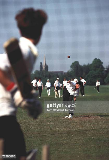 Boys from Eton School pictured during cricket practice on the playing fields