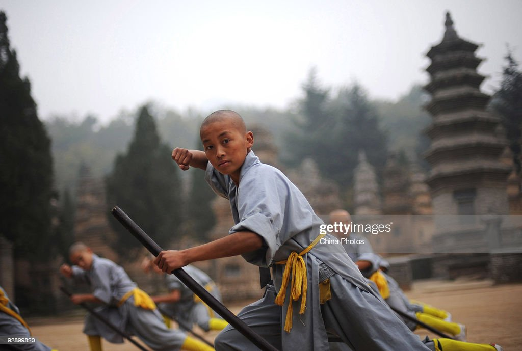 Boys Practice Kung Fu At Shaolin Temple Area : News Photo