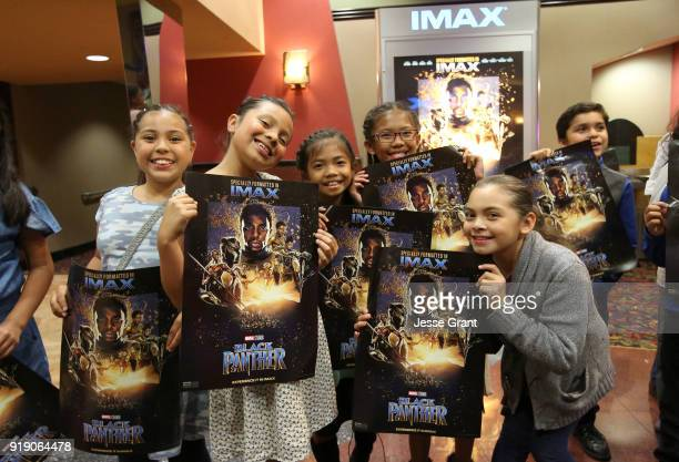Boys Girls Club Long Beach members received the celebrity treatment with concessions and more during an advance IMAX screening of 'Black Panther' on...