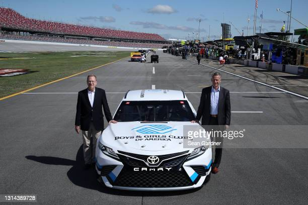 Boys & Girls Clubs of America President and CEO Jim Clark and NASCAR President Steve Phelps pose for photos after the announcement of NASCAR's...