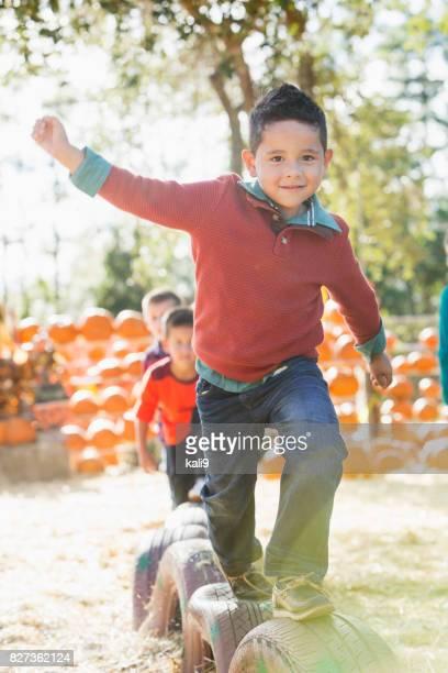 Boys having fun at fall festival