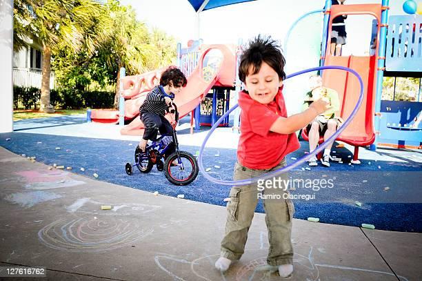 Boys having fun on playground