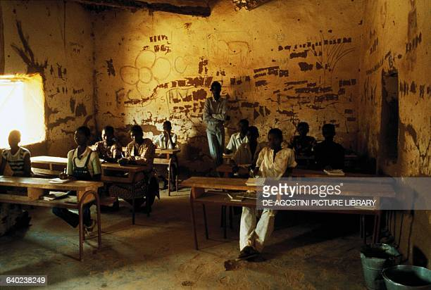 Boys in a classroom in the Hombori school Mali