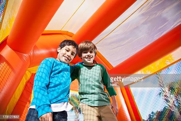 Boys in bounce house