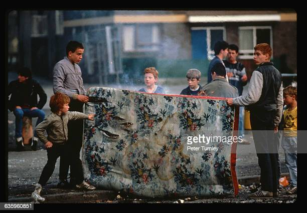 Boys in Northern Ireland with Burning Mattress