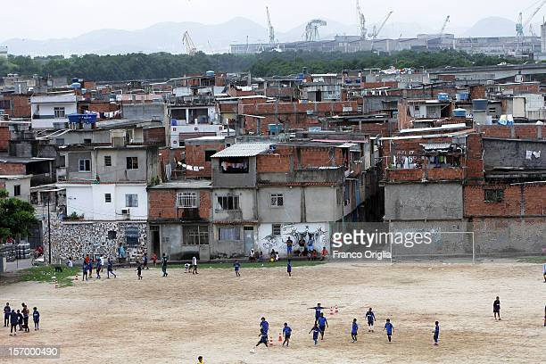 Boys involved in the Intercampus project attend a training session at the favelas Vila Dos Pinheiros on November 17 2007 in Rio De Janeiro Brazil...