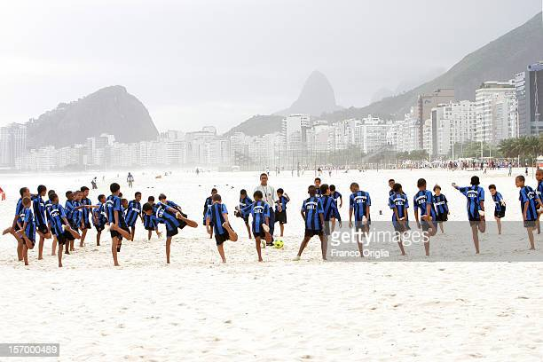 Boys involved in the Intercampus project attend a training session during an excursion at the Copacabana beach on November 17 2007 in Rio De Janeiro...