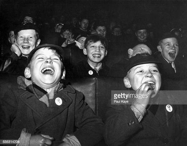 Boys Laugh at Children's Movie Session