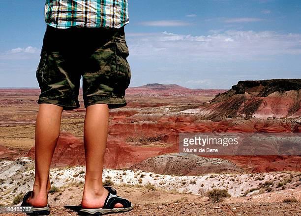 Boy's legs by rocky landscape