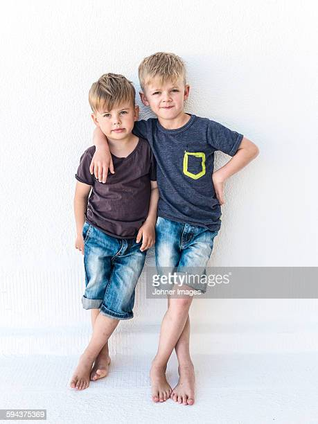 Boys looking at camera