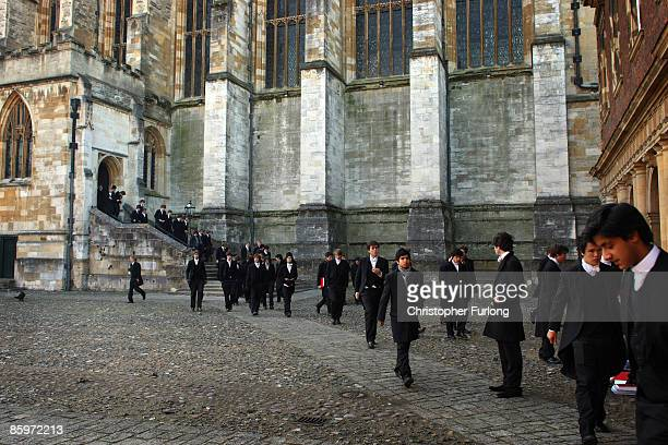 Boys make their way from chapel across the historic cobbled School Yard of Eton College on November 16 2007 in Eton England An icon amongst private...