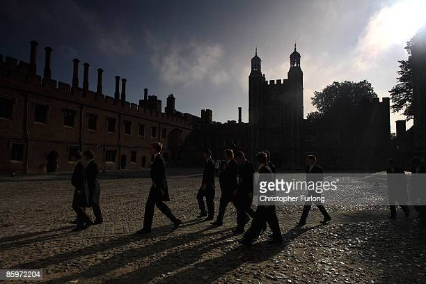 Boys make their ways to classes across the cobbled historic School Yard of Eton College on May 26 2008 in Eton England An icon amongst private...