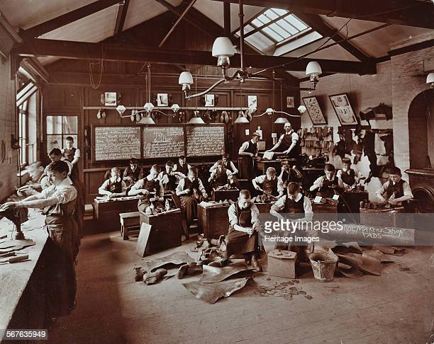 Boys making shoes at the Anerley Residential School for Elder Deaf Boys Versailles Road Penge 1908 Boys at work in the Shoemaker's Shop pieces of...