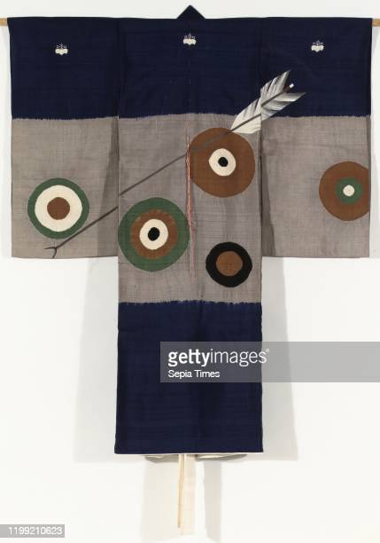 Boys miyamairi kimono with arrow and targets, Formal kimono for a boy for the first visit to a Shinto shrine , with a decoration of scattered round...