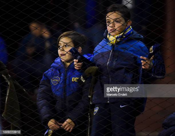 Boys of Boca Juniors looks on before a match between Boca Juniors and Alvarado as part of Round of 64 of Copa Argentina 2018 on August 1 2018 in...