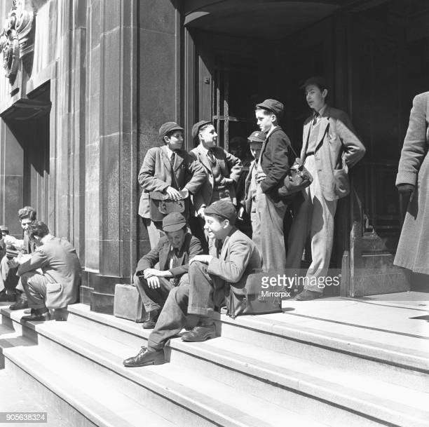Boys of the Quintin School 309 Regent Street have their chemistry classes at the London Polytechnic School Seeing that the sun is shining they wait...