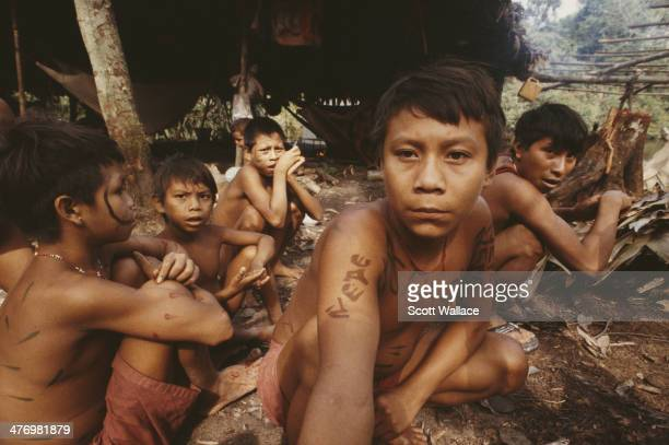 Boys of the Yanomami people at a village in the Amazon rainforest of Venezuela 2001