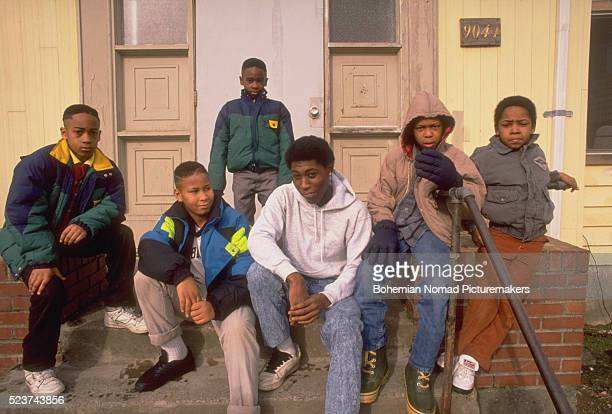 Boys on Stoop of Housing Project