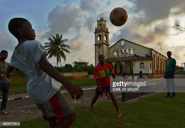 Boys play football in Mbini on January 30 2015 Equatorial Guinea hosts the Africa Cup of Nations tournament from January 17 to February 8 2015