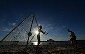 samara russia boys play football beach