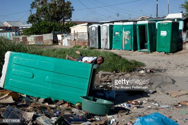 Boys play in the residential area next to Amandla EduFootball grounds which was founded by Jakob Schlichtig Florian Zech outside the field in...