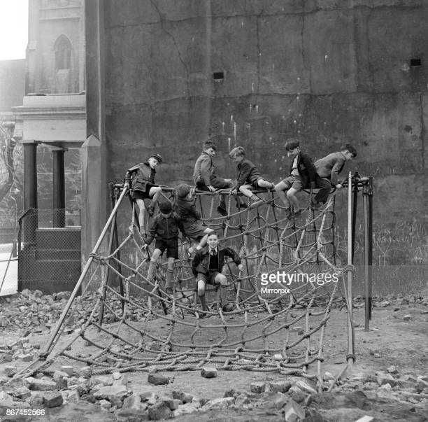 Boys playing at Clydesdale Road adventure playground 18th May 1955