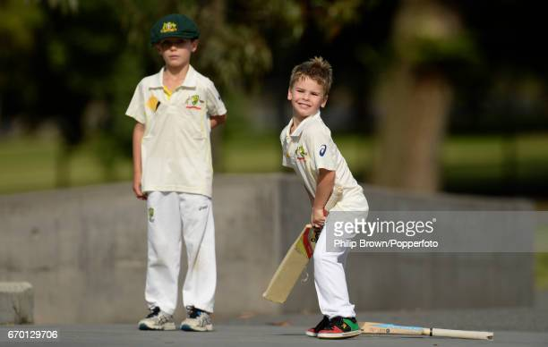 Boys playing cricket near the MCG before the 4th Ashes cricket Test match between Australia and England at the Melbourne cricket ground Melbourne...