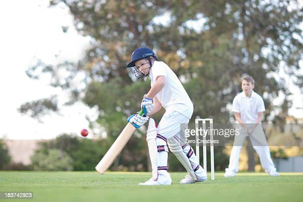 boys playing cricket - cricket stockfoto's en -beelden
