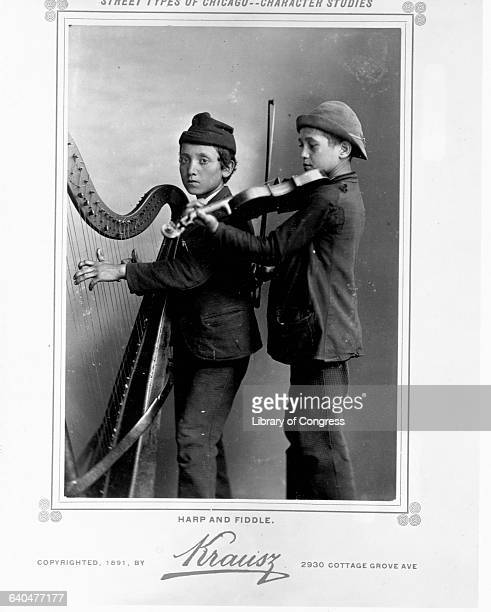 Boys Playing Harp and Fiddle
