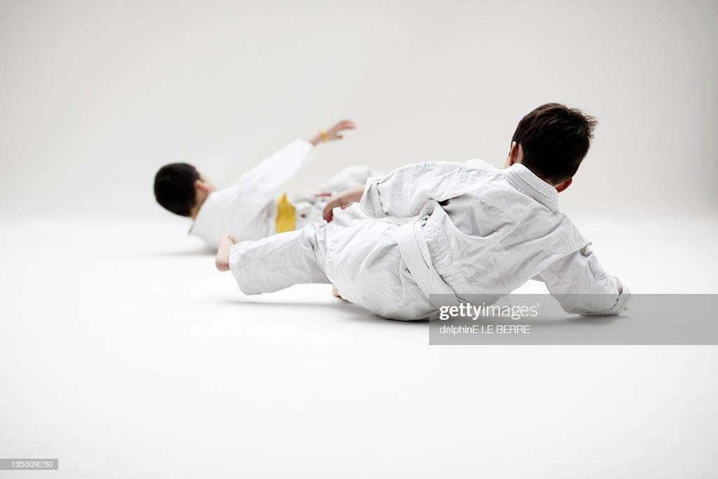 Boy's playing judoka : Stock Photo