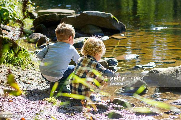 boys playing next to the lake - woodland stock pictures, royalty-free photos & images