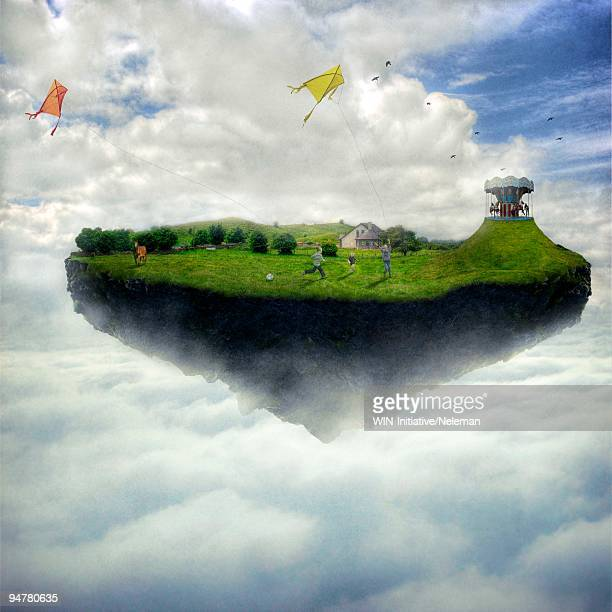 boys playing on an island levitating in the sky, republic of ireland - island stock pictures, royalty-free photos & images