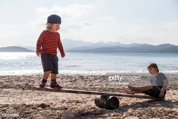 Boys playing seesaw on beach